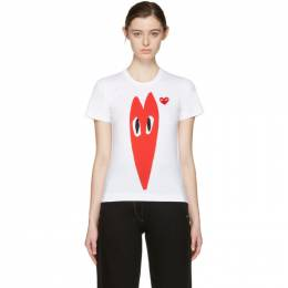 Comme des Garcons Play White Hearts T-Shirt 171246F11001502GB