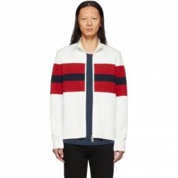 Moncler White and Red Zip-Up Cardigan 191111M20200302GB