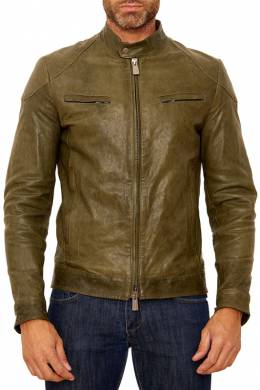 leather jacket Ad Milano DAR720_GREEN