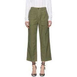 R13 Green Straight Utility Trousers 182021F08700306GB