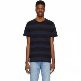 A.P.C. Black and Navy Striped Archie T-Shirt 191252M21301001GB
