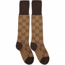 Gucci Brown and Beige GG Long Socks 476336 3G701