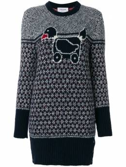 Thom Browne Pullover Dress With Duck Toy Icon In Mohair Tweed FKA166A00278