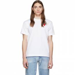 Comme des Garcons Play White and Red Long Heart Patch T-Shirt 192246M21301203GB