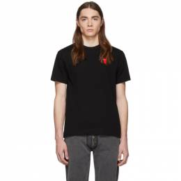 Comme des Garcons Play Black and Red Long Heart Patch T-Shirt 192246M21301304GB
