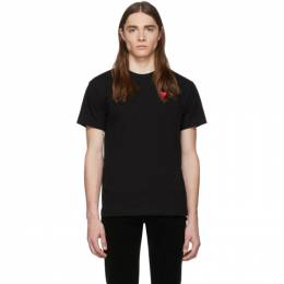 Comme des Garcons Play Black and Red Double Hearts T-Shirt 192246M21300103GB