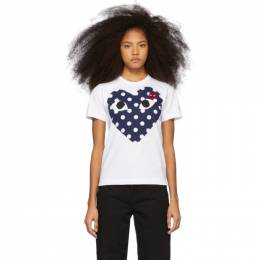 Comme des Garcons Play White and Red Polka Dot Heart T-Shirt 192246F11000301GB