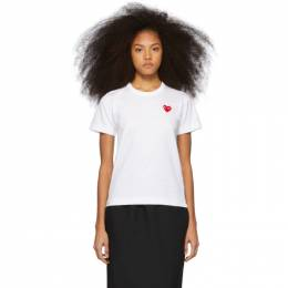 Comme des Garcons Play White and Red Heart Patch T-Shirt 192246F11001002GB