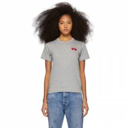 Comme des Garcons Play Grey and Red Double Hearts T-Shirt 192246F11001504GB