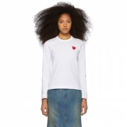 Comme des Garcons Play White and Red Heart Patch Long Sleeve T-Shirt T117