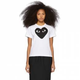 Comme des Garcons Play White and Black Heart T-Shirt P1T069