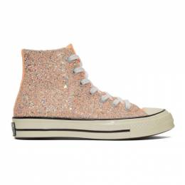 J.W. Anderson Orange Converse Edition Glitter Chuck 70 High Sneakers 191477F12700508GB