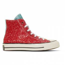 J.W. Anderson Red Converse Edition Glitter Chuck 70 High Sneakers 191477M23601315GB
