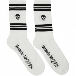 Alexander McQueen White and Black Stripe Skull Sport Socks 5846173B74Q