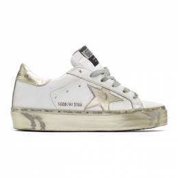 Golden Goose Deluxe Brand White and Gold Hi Star Sneakers G35WS945.H3