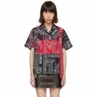 Palm Angels Red and Black Bandana Patchwork Bowling Shirt 192695F10900301GB