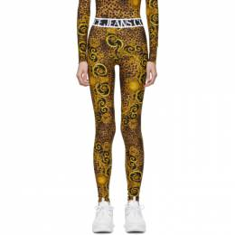 Versace Jeans Couture Black and Gold Baroque Leggings 192202F08500203GB