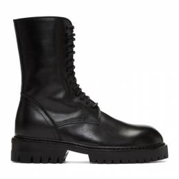Ann Demeulemeester Black Buckle Lace-Up Boots 192378F11301811GB