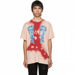 Amiri Pink and Red Watercolor Dragon T-Shirt 192886M21300805GB