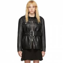 Opening Ceremony Black Faux-Leather Belted Jacket P19ADZ11158