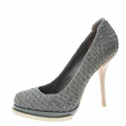 Alexander Wang Grey Perch Leather Aida Platform Pumps Size 39 156201