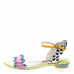 Sophia Webster Multicolored Leather and PVC Patti Flat Sandals Size 40.5