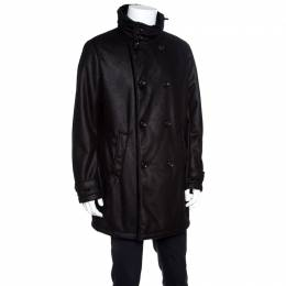 Armani Collezioni Black Faux Leather Shearling Lined Hooded Overcoat XXL 155797
