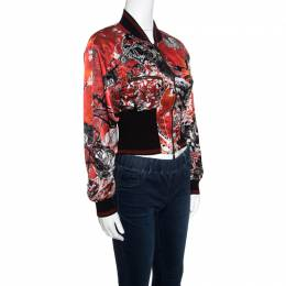 Roberto Cavalli Red Floral and Snake Printed Satin Bomber Jacket S 155906
