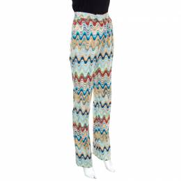 Missoni Multicolor Patterned Knit High Waist Flared Bottom Pants S 155919