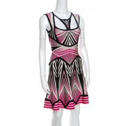 Herve Leger Aztec Pattern Jacquard Knit Cutout Detail A Line Anaya Dress XXS 151512