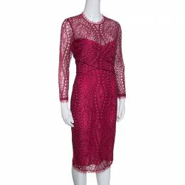 Emilio Pucci Burgundy Floral Lace Scalloped Trim Draped Dress M 152865