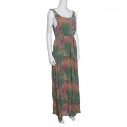 Alice+Olivia Green and Pink Floral Printed Silk Sleeveless Dress S 152179