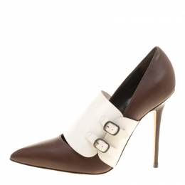 Manolo Blahnik Brown/White Leather Encajada Buckle Accented Pointed Toe Pumps Size 35