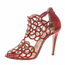 Oscar de la Renta Orange Leather Gladia Cutout Sandals Size 41.5 146774