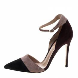 Gianvito Rossi Tricolor Suede Ankle Strap D'orsay Pointed Toe Pumps Size 36.5 145206