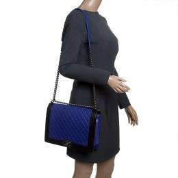 Blue/Black Quilted Leather Large Boy Flap Bag Chanel 143786