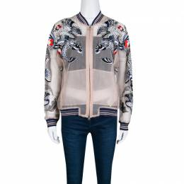 3.1 Phillip Lim Beige Natural Tattoo Embroidered Organza Bomber Jacket S 139238