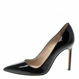 Manolo Blahnik Black Patent Leather BB Pointed Toe Pumps Size 36