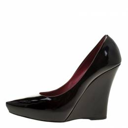 Le Silla Black Patent Leather Wedge Pointed Toe Pumps Size 39.5 133786