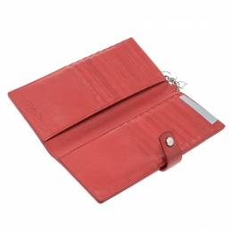 Dior Red Cannage Leather Continental Wallet 138136