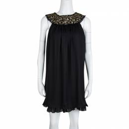 Alice+Olivia Black Embellished Neck Detail Sleeveless Silk Trapeze Dress XS 132803