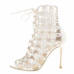 Gianvito Rossi White Cutout Leather Lace Up Peep Toe Sandals Size 37 136382