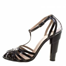 Chanel Black Patent Leather and PVC Architectural T-Strap Sandals Size 37.5 128858
