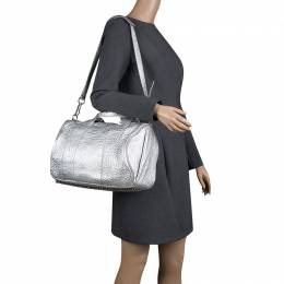 Alexander Wang Silver Pebbled Leather Rocco Duffel Bag 131728