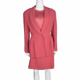 Herve Leger Vintage Pink Mesh Top Skirt and Blazer Set XL 117324