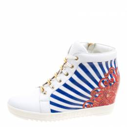 Loriblu White Painted Leather Wedge Sneakers Size 40 120604