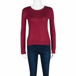 Alice+Olivia Red Knit Hot Fix Crystal Embellished Cropped Sweater XS