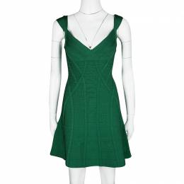 Herve Leger Pine Green Fit and Flare Sleeveless Mayra Dress M 121364