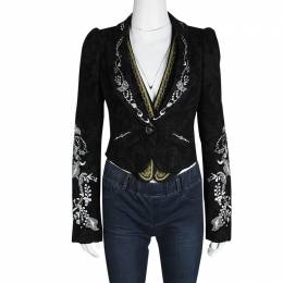Christian Lacroix Black Floral Embroidered Vest Detail Velvet Blazer S 115956