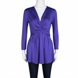 Emilio Pucci Blue Silk Jersey Twist Knot Front Long Sleeve Tunic M 120811